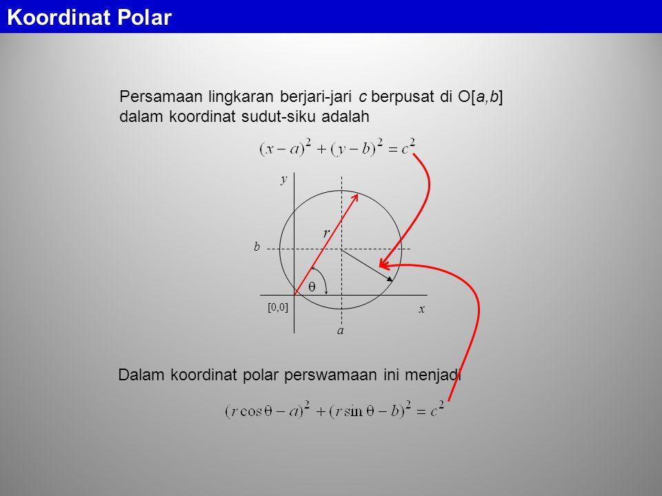 Koordinat Polar Persamaan lingkaran berjari-jari c berpusat di O[a,b] dalam koordinat sudut-siku adalah.